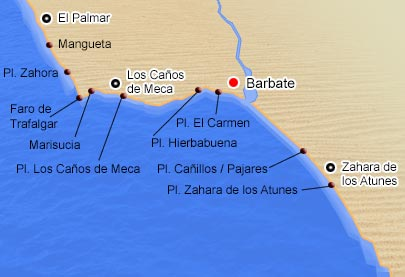 Mapa de playas de Barbate