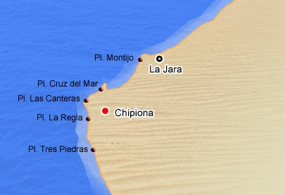 Mapa de playas de Chipiona
