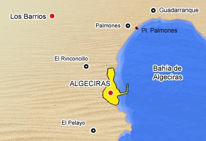 Mapa de playas de Los Barrios